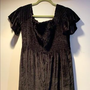 Black Velvet Off the Shoulder Dress